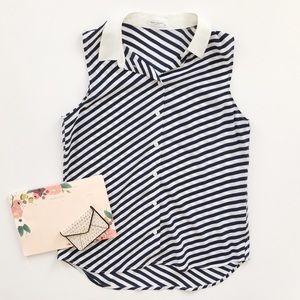 Equipment Silk Blue Stripe Sleeveless Blouse